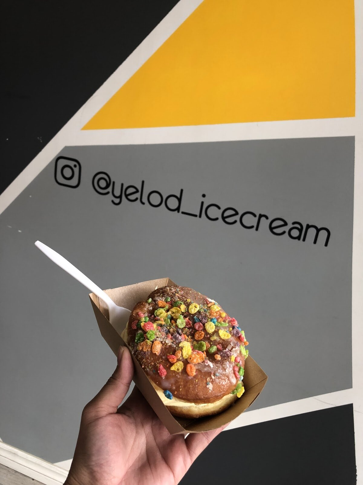 Edmonton -Yelo'd - As a proud filipino, I was ecstatic to see this cute little unassuming (literally, we almost walked right by it) soft serve spot that serves all the filipino flavours I grew up with. Since all of my teeth are sweet, I couldn't resist the donut stuffed with ice cream and sprinkled with sugary cereal. It was heaven and I may or may not have cried… Also props for creating an offline experience for your customers via your gorgeous store and photo walls!(If you don't believe that I actually cried, check out the extremely flattering video my colleagues took.)@yelod_icecream