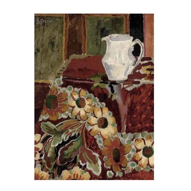 "These gorgeous rich colours are so inspiring on this grey drizzly winter afternoon. ✨ ""Jug on a table cloth""  c.1916-17 by Duncan Grant, member of the famed Bloomsbury Group. Have a lovely weekend everyone! ✨ #art #bloomsburygroup #painting #interiors #interiordesign #interiordecorating #colour #deco #decor #floral #stilllife #pattern"