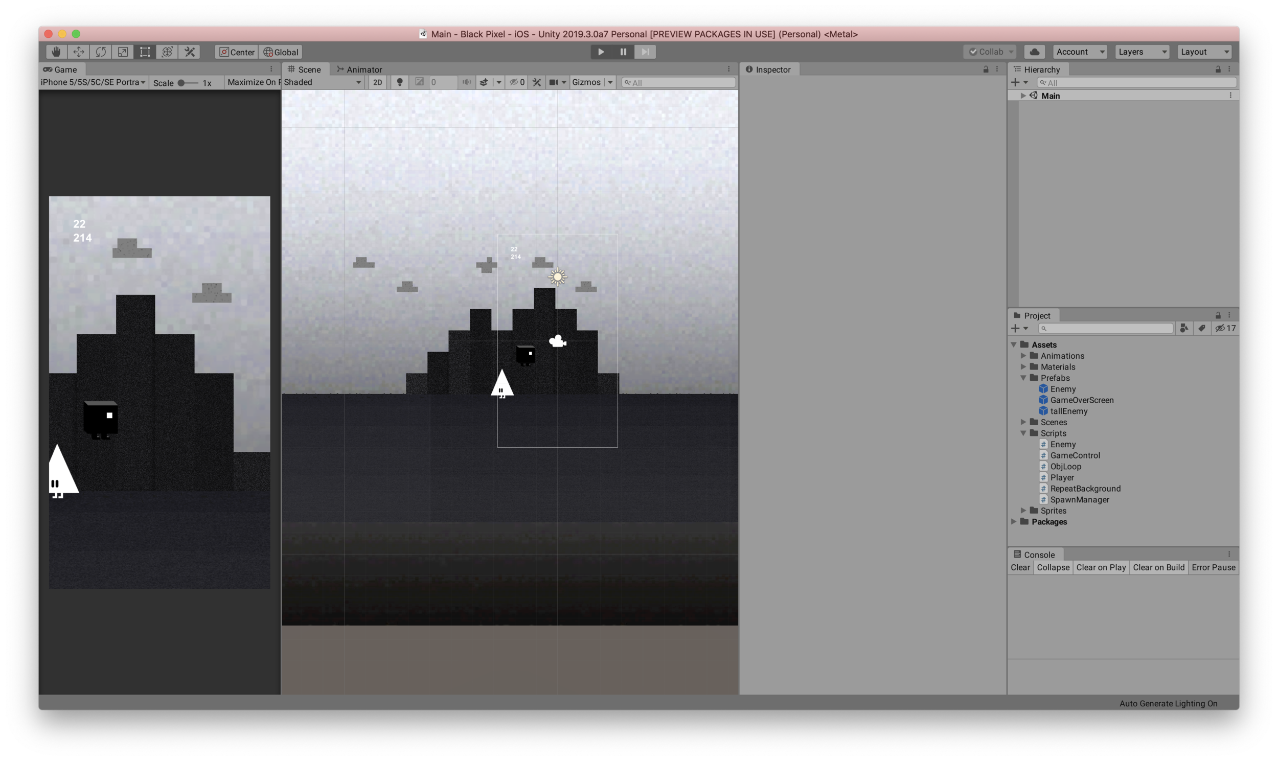A screengrab of the game prototype built in Unity
