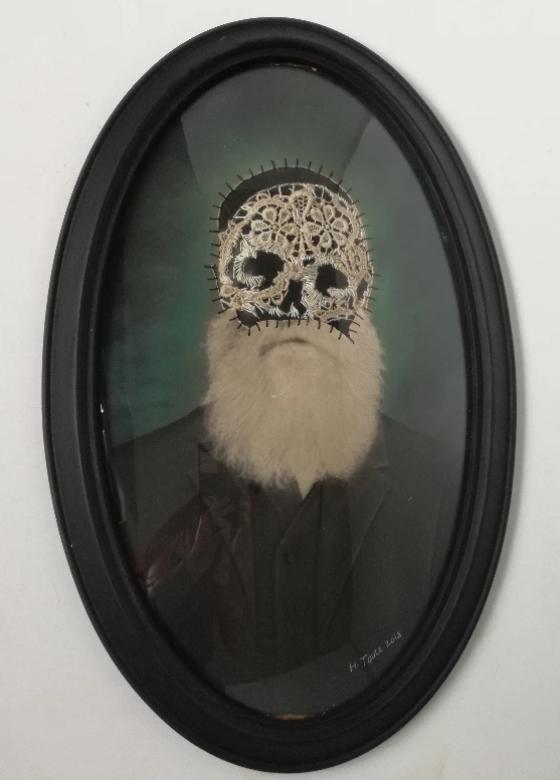 Rip Van Winkle - Altered vintage photograph, cotton / acrylic thread,Rubber, original vintage wood frame560 x 350 mm9800 ZAR