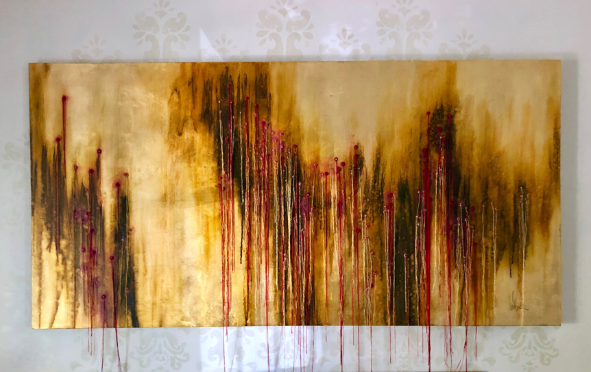 Excavation of the Soul - Oil and Thread on Gold Leaf on Canvas2500 x 1000 mm18 500 ZAR