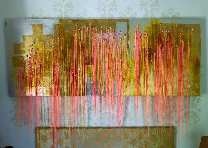 There Goes My Heart - Oil, Thread and Pearl Beads on Gold & Silver Leaf on Linen2500 x 1100 mm18 500 ZAR
