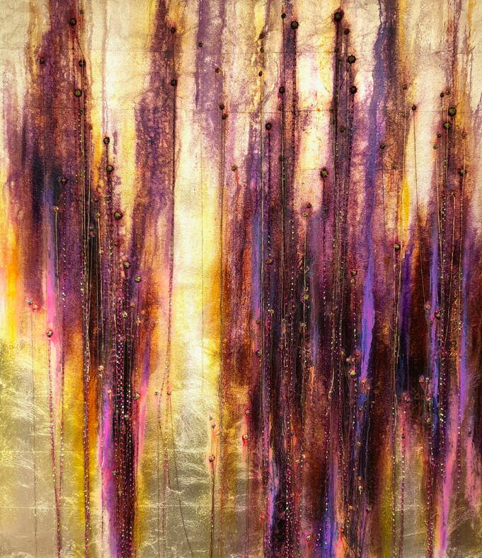 Ballroom of Perdition - Oil and Thread on Gold Leaf on Canvas1600 x 1800 mm16 500 ZAR