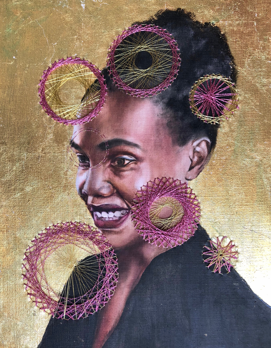 Millenial 3 (Victoria) - Oil, Japanese Thread and Gold Leaf on Linen Board±500 x 800 mm12 000 ZAR