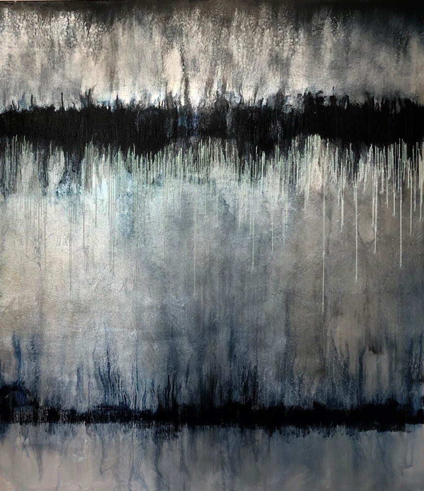 Winter Wonderland - Oil and Mother of Pearl Thread on Silver Leaf on Canvas1500 x 1700 mm 30 000 ZAR