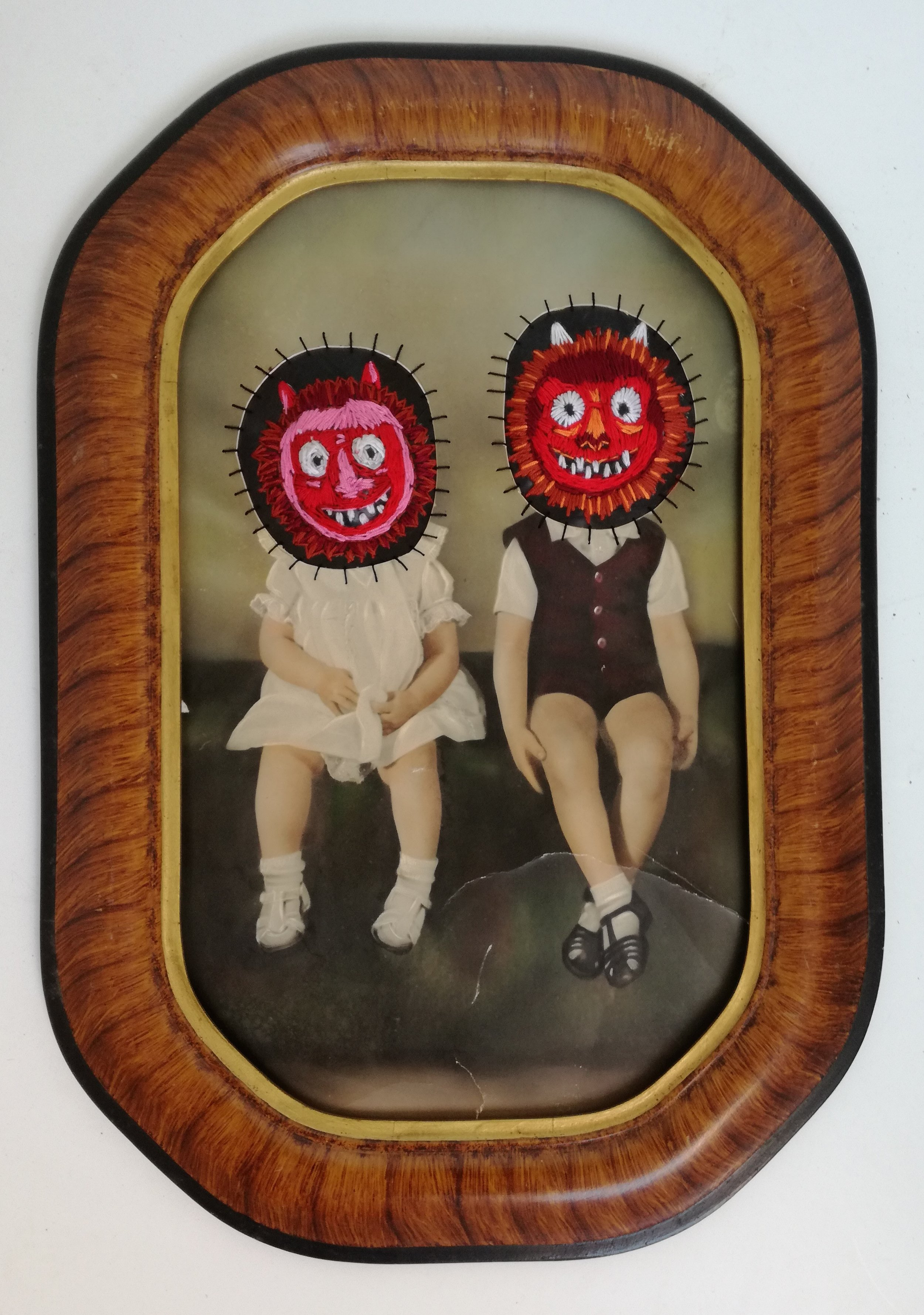 Two Little Ogres - Altered Vintage Photograph, Cotton Thread, Rubber530 x 330 mm9800 ZAR