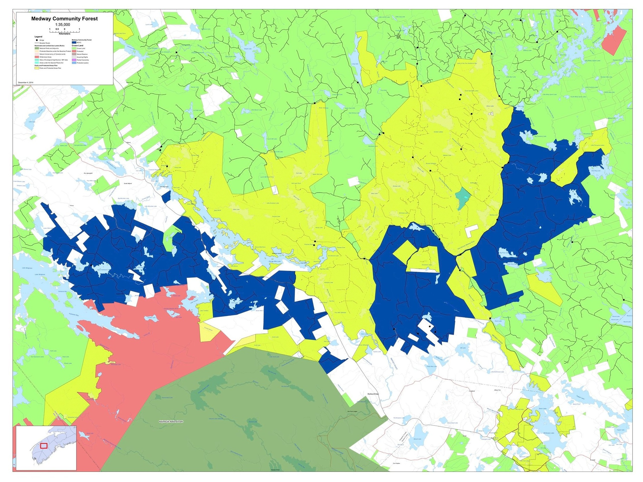 The MCFC license area (blue) is surrounded by a vast network of parks (Kejimkujik in green) and protected areas (Medway Lakes Wilderness Area in yellow and the Tobeatic Wilderness Area in pink).