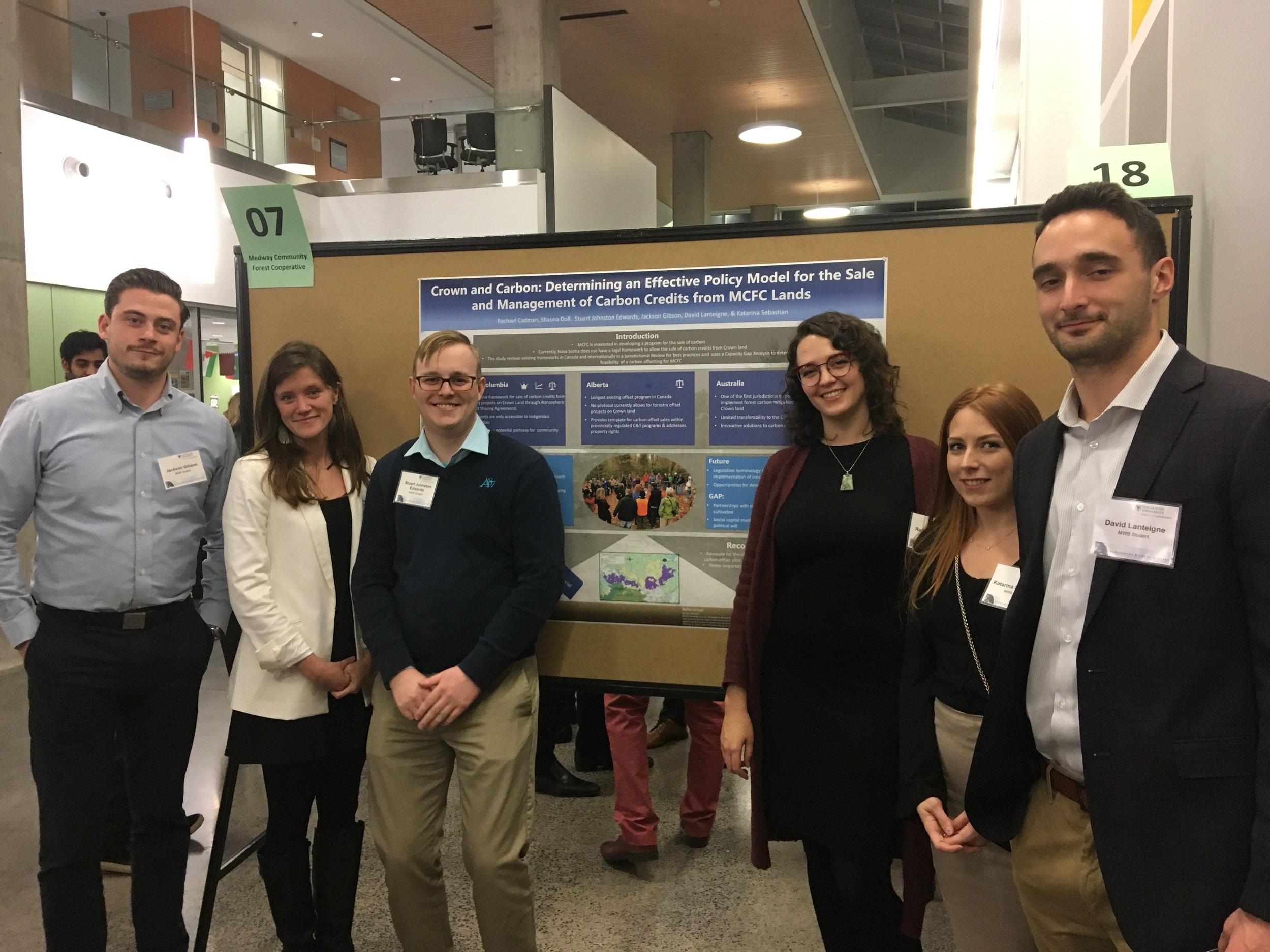 Management without Borders students with their Crown and Carbon research poster at Dalhousie University in December 2017.