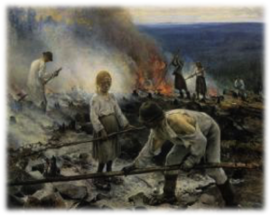 This painting illustrates fire being used to aid land clearance activities (i.e. 'swidden agriculture'), a practice carried out to create nearly all fields throughout Nova Scotia during the 17-19th centuries.