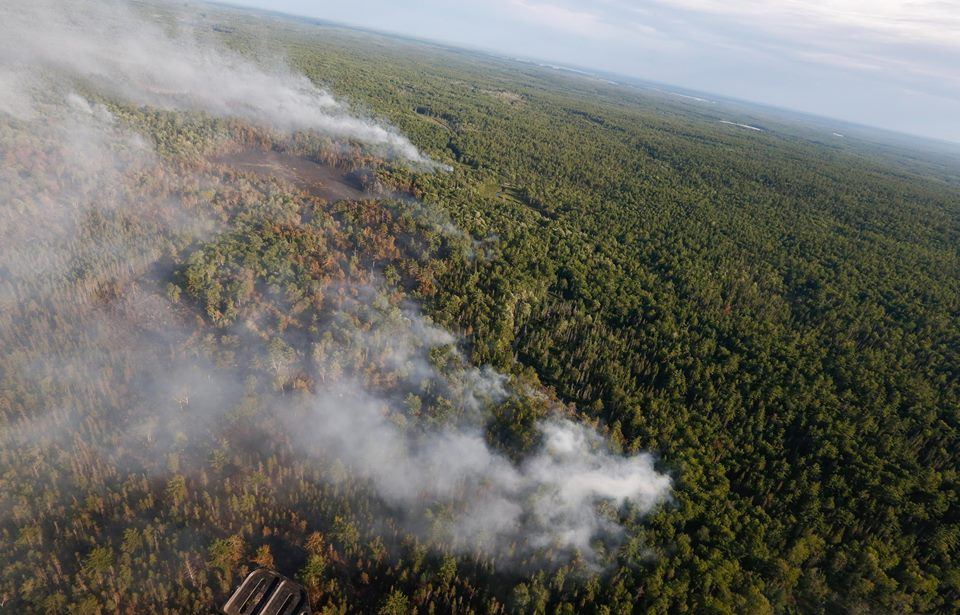 Aerial view of the Seven-Mile Lake fire once crews had the blaze 35% contained (NS Government photo)