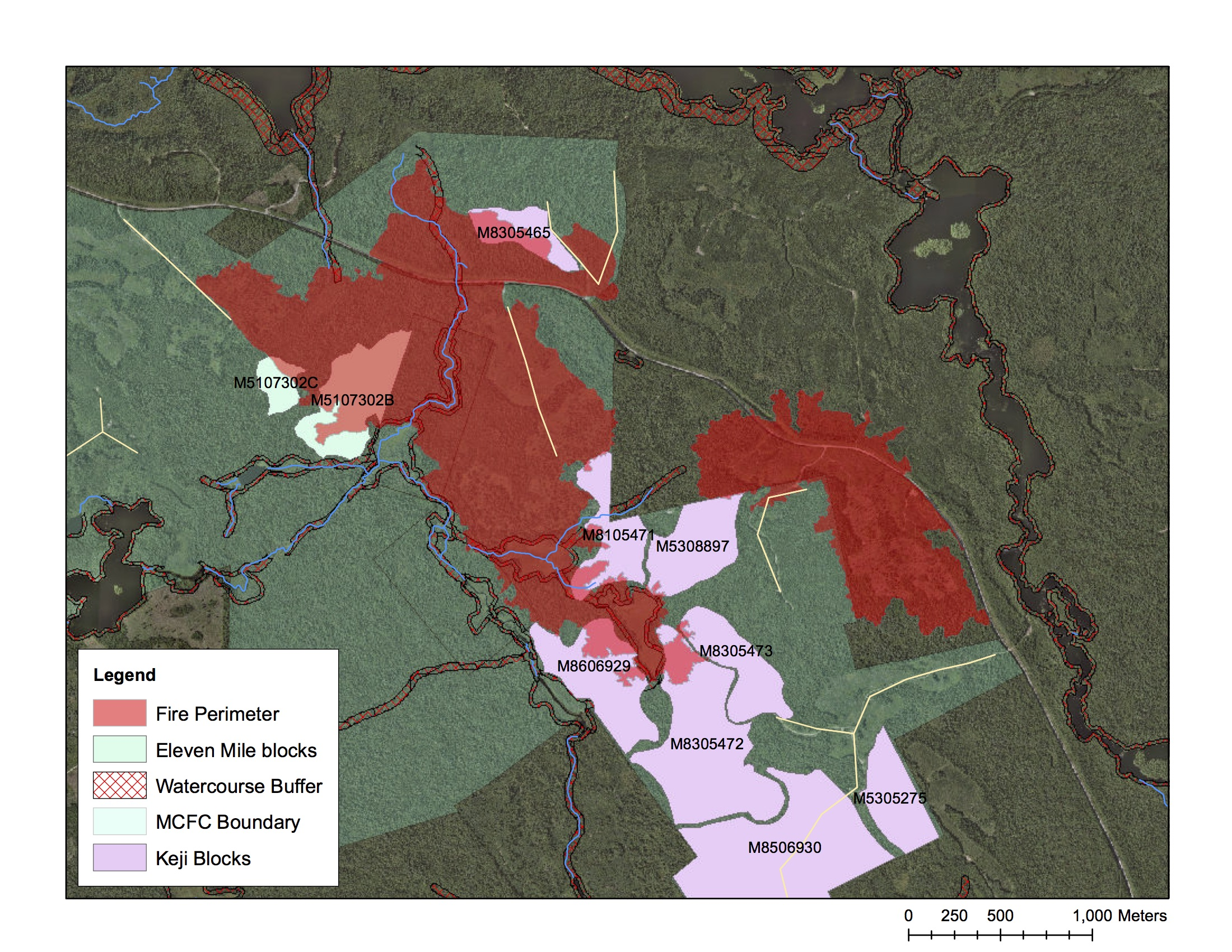 Overlay of the fire perimeter and harvest blocks scheduled for partial removals/silviculture in the upcoming year.