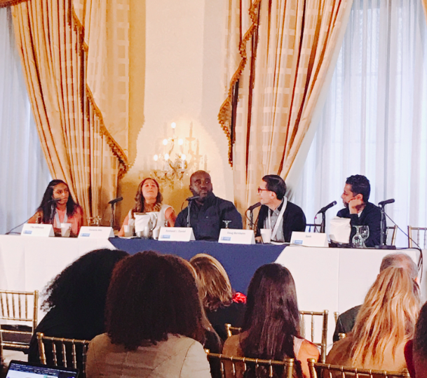 """J'na moderating the """"Reality of Music in Unscripted Programming"""" panel at the Third Annual AIMP Indie Music Publishing Summit in June 2019."""