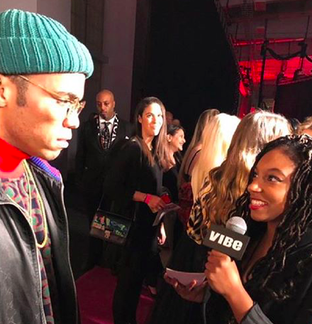 J'na interviewing musician Anderson .Paak at the Billboard Women In Music ceremony in November 2018.