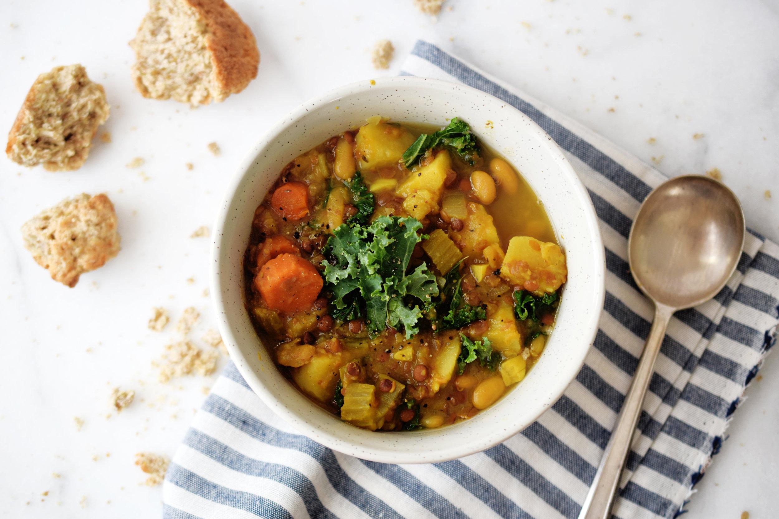 Kale Lentil Crockpot Soup Recipe