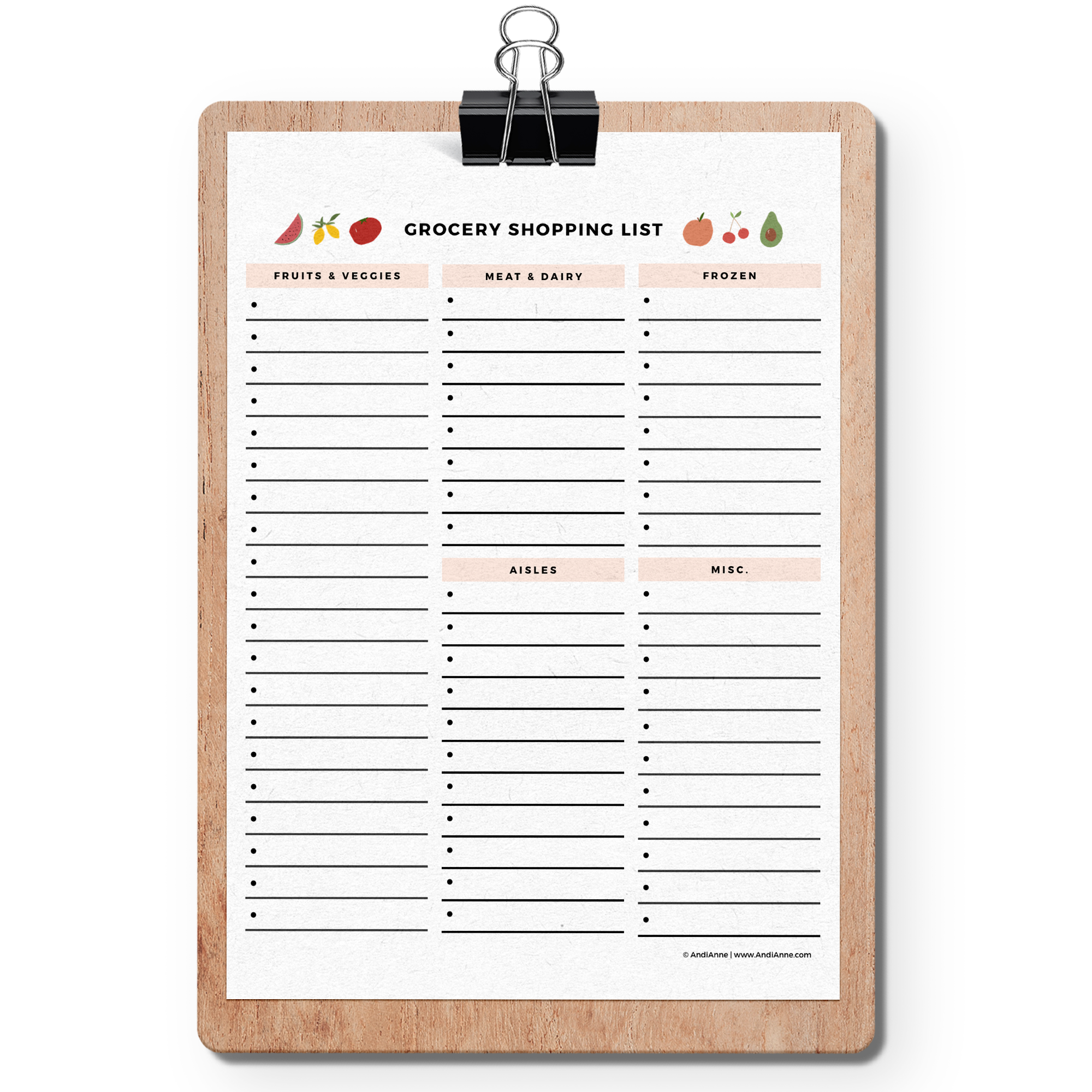 It's just a photo of Printable Grocery Shopping List for downloadable