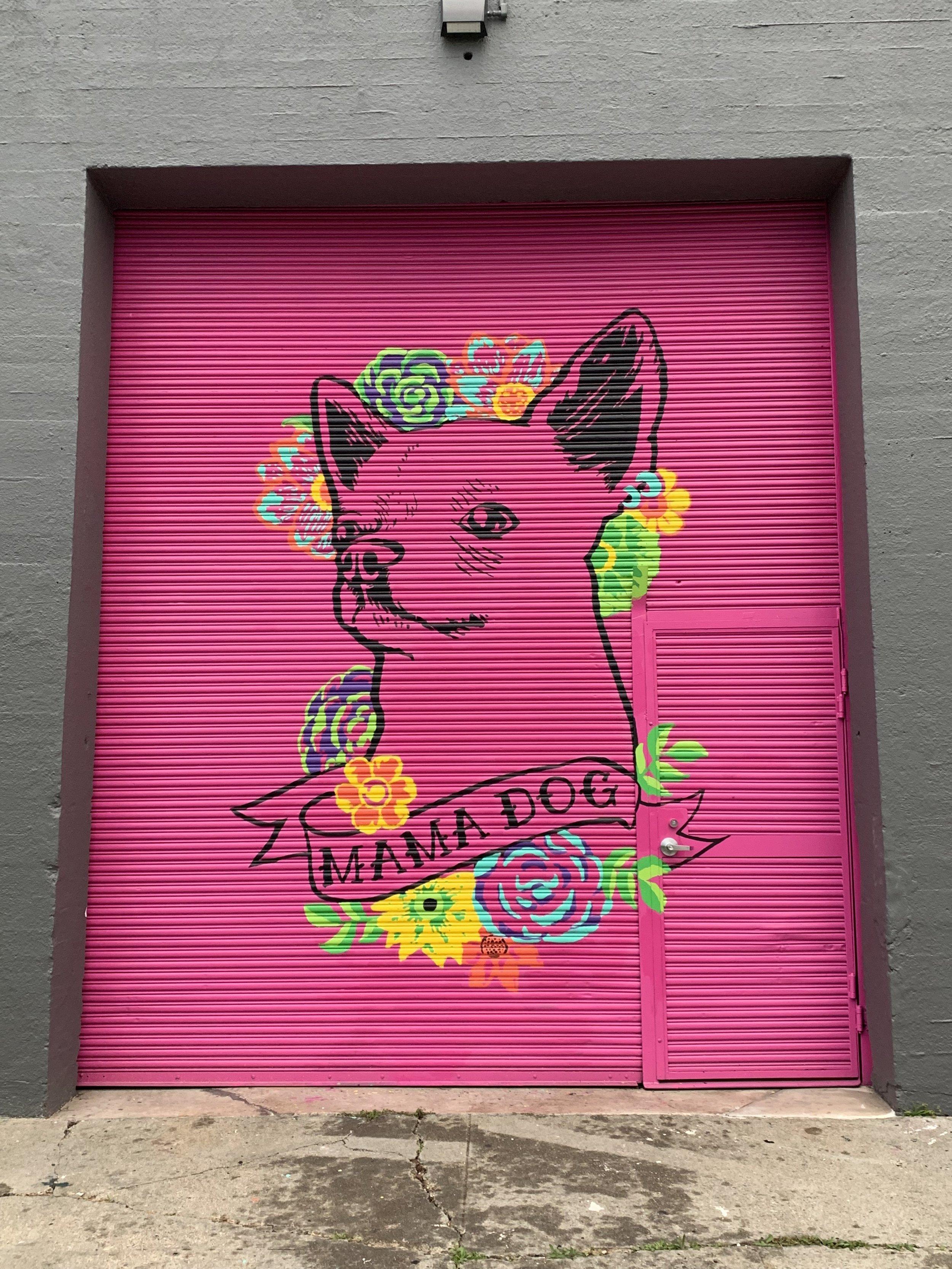 Mama Dog Studios Mural Chihuahua Frida Kahlo Flowers color
