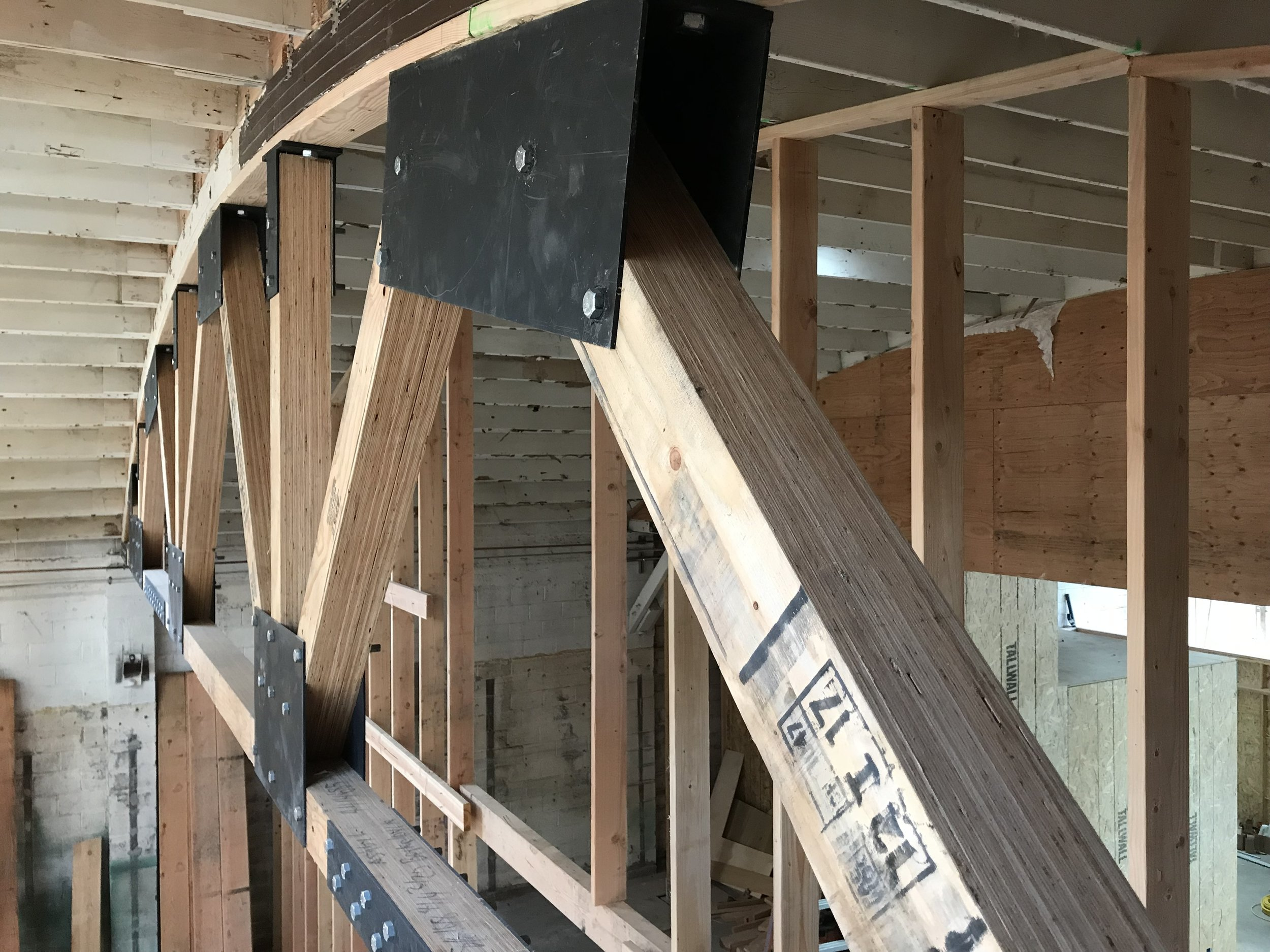 heavy metal joists and beams in the rafters at Mama Dog.