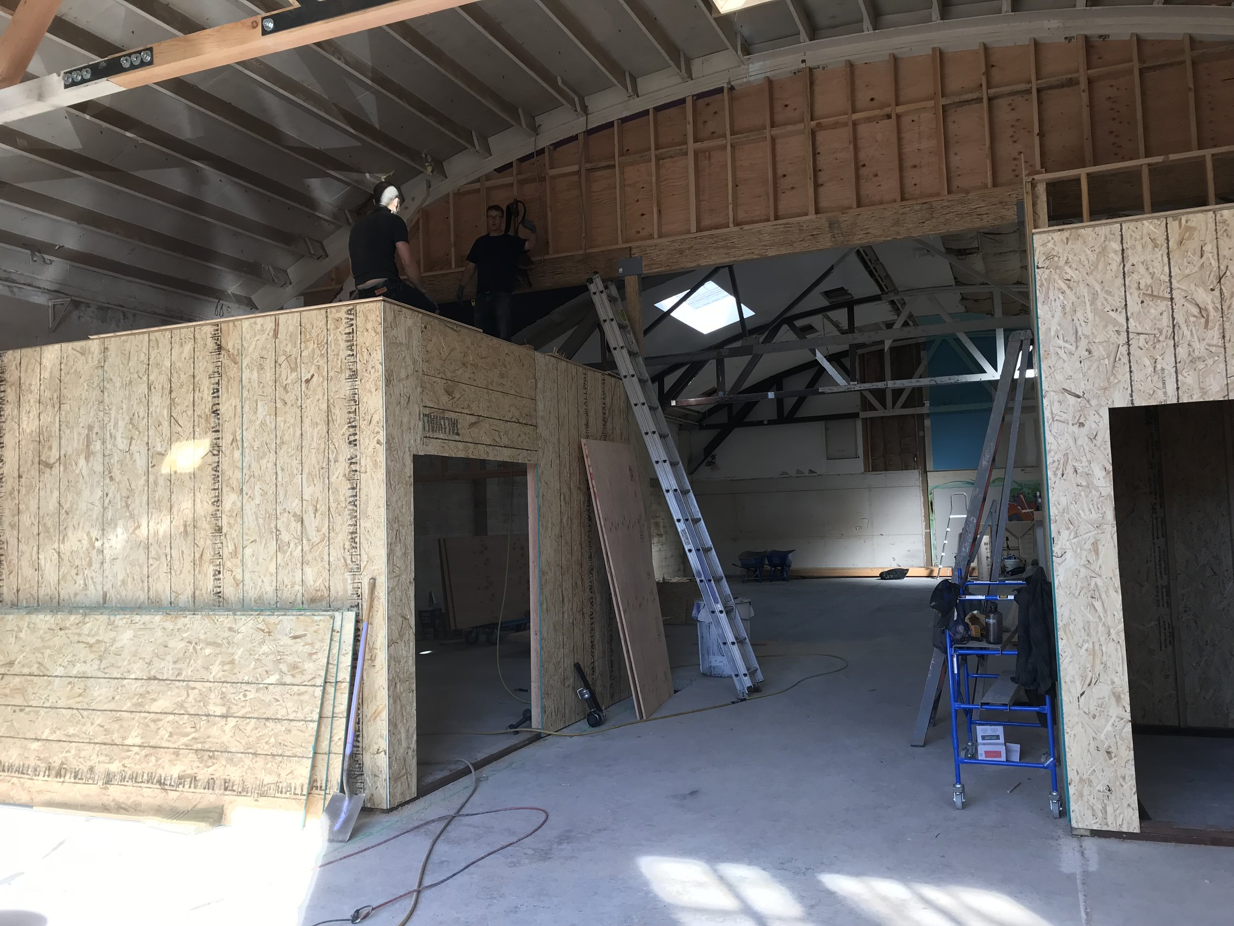 construction of the client room and restrooms at Mama Dog Studios