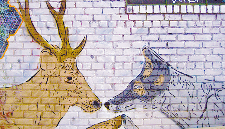 Wolf and deer street art or graffiti from the streets of Bushwick, Brookln in New York City