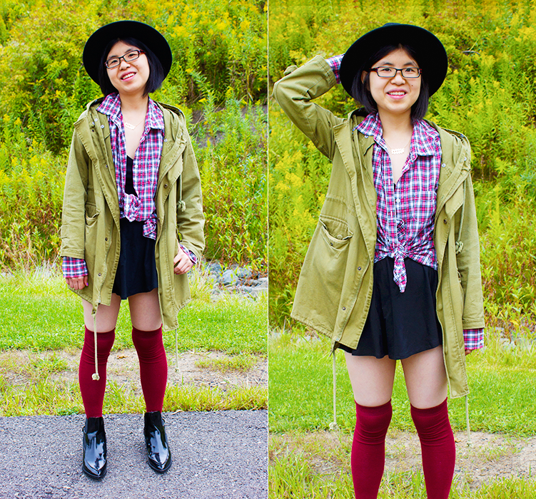 Boom! It's Fall - Outfit for transitioning to the fall with parka, plaid, knee highs, skater skirt, and Zara patent leather boots