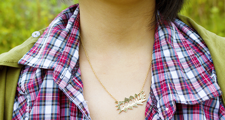 Boom! It's Fall - Outfit for transitioning to the fall with UrbanOutfitter's BOOM! Necklace