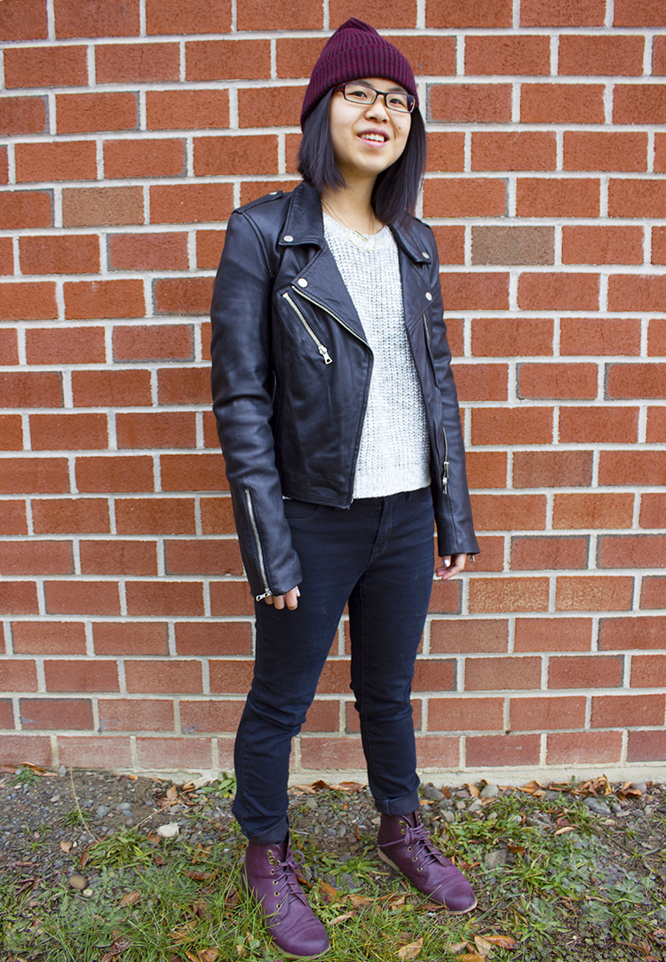Quick fall outfit post for a casual but cool look. Leather jacket, skinny beans, sweater, beanie and purple boots make for a cool edgy look.
