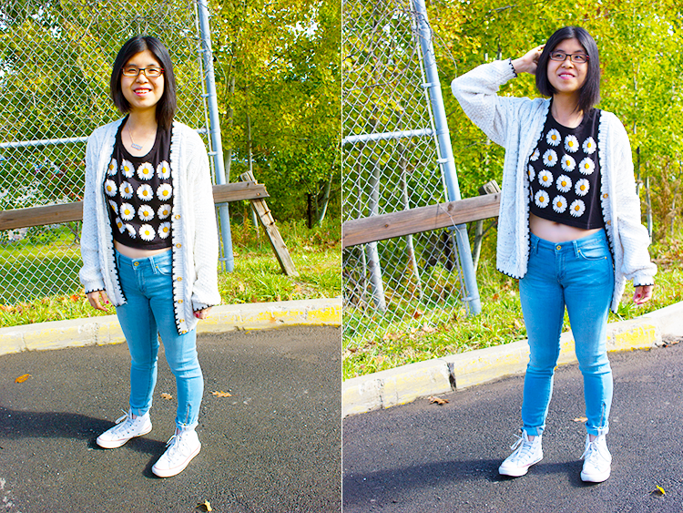 Fall outfit with UrbanOutfitters Cropped Daisy Tee, Chunky Cardigan, Jeans and White Converse high tops