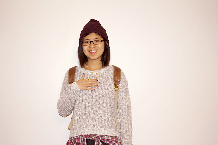 A cool casual outfit to go exploring in - F21 Marled Sweater, UrbanOutfitters Skinny Jeans, Plaid Shirt, Doc Martens Boots, UrbanOutfitters Backpack, Beanie