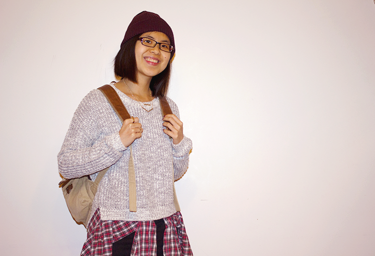 A cool casual outfit to explore in - F21 Marled Sweater, UrbanOutfitters Skinny Jeans, Plaid Shirt, Doc Martens Boots, UrbanOutfitters Backpack, Beanie