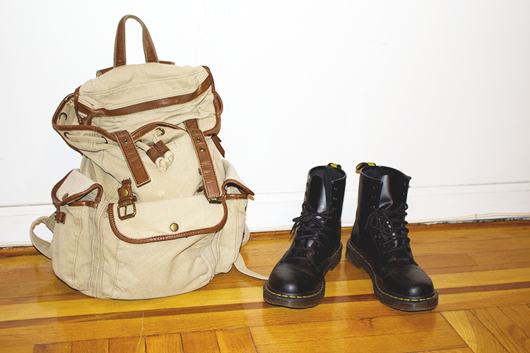 A cool casual outfit to go exploring in with accessories of UrbanOutfitters backpack and Doc Martens boots