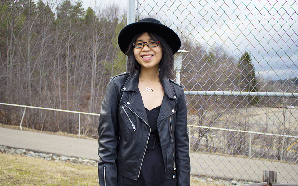 All black outfit with black lattice dress, ZARA leather jacket, hat, and Opening Ceremony leather boots.