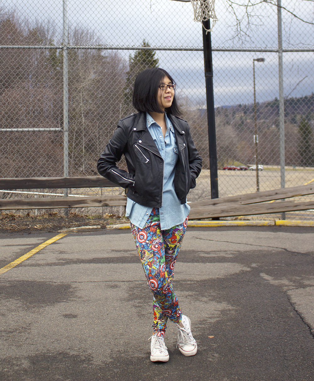 Keeping it casual with a MARVEL's superheroes leggings, chambray shirt, leather jacket and classic Chuck Taylors