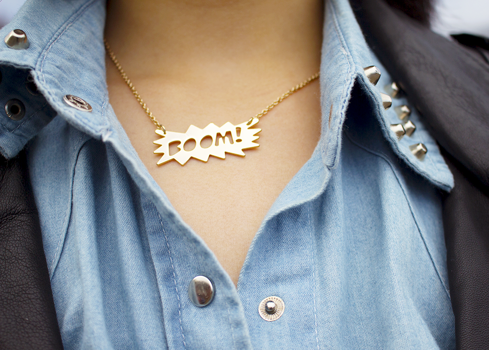 Urbanoutfitters BOOM comic necklace