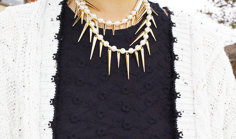 Casual comfort with chunk sweater, crop top and pearl necklace