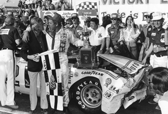 David Pearson in Victory Lane after winning the 1976 Daytona 500 in the No. 21 Wood Brothers Racing car. (File photo courtesy of NASCAR)