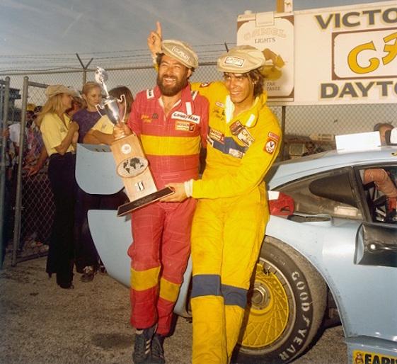 John Paul Sr. and John Paul Jr. celebrate at the Daytona 24.