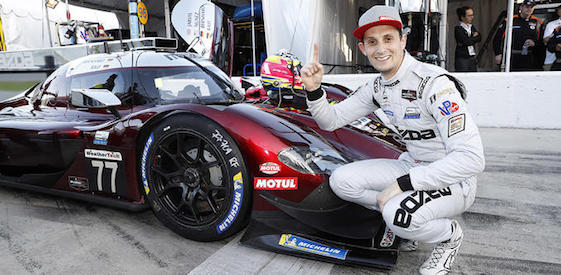 Oliver Jarvis put the No. 77 Mazda Team Joest DPi car on the pole for the 2019 Rolex 24 sports car race in Daytona. The 57th running of the race begins on Saturday afternoon and ends on Sunday.