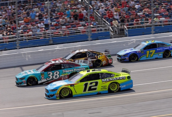 They were racing four wide at Talladega on Sunday. (RacinToday/HHP photo by Alan Marler)