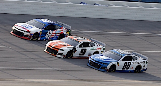 Chase Elliott, center, and Hendrick Motorsports teammate Alex Bowman, right, didn't get to race to the checkered flag but that was about the only bummer in Sunday's race at Talladega. (RacinToday/HHP photo by Andrew Coppley)