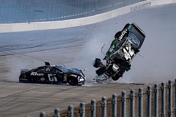 What would Talladega be without an OMG wreck. This one saw Kyle Larson go airborne. (RacinToday/HHP photo by Barry Cantrell)