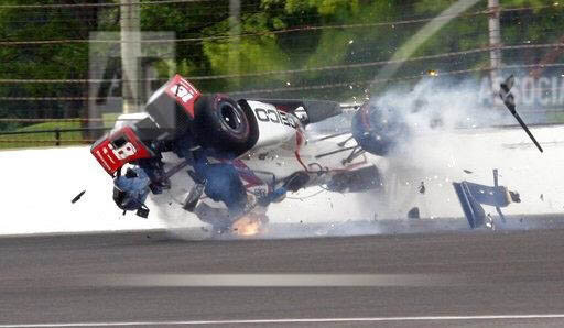 Sebastien Bourdais did not walk away from this Indy qualifying crash in 2017, but returned to racing thanks to the SAFER barrier, car construction and the HANS Device.