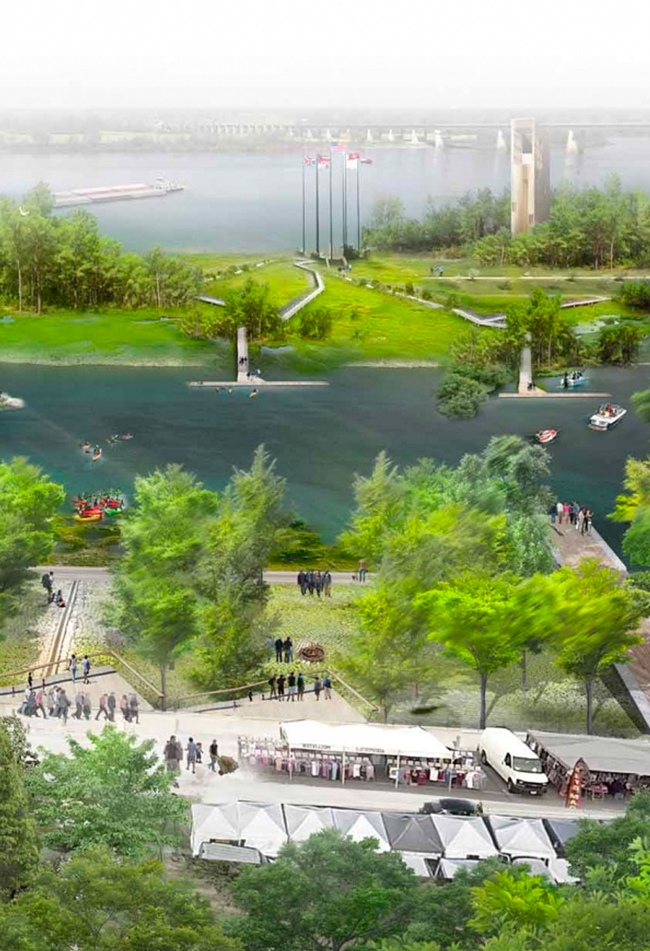 Memphis riverfront - The Memphis Riverfront Concept describes how six miles of the city's Mississippi riverfront can become a signature network of spaces and opportunities, tied into the city and its assets, that benefits the entire community and lifts Memphis as a whole.Why is this being created? The three design principles of this project are to foster positive encounters, civic pride and identity, and new understanding of the Mississippi River; restore natural conditions, native ecology, and a more dynamic relationship between people and the river; and connect assets along the river, the riverfront to the city, and people with each other.Learn more about this ongoing project >>