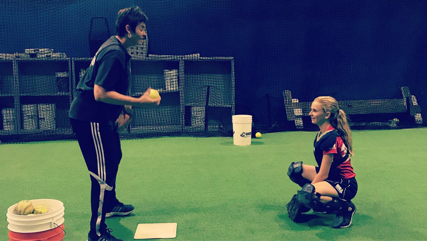 Catching Clinic with Kerry Dienelt for On Deck Batting Cages in Long Beach, California