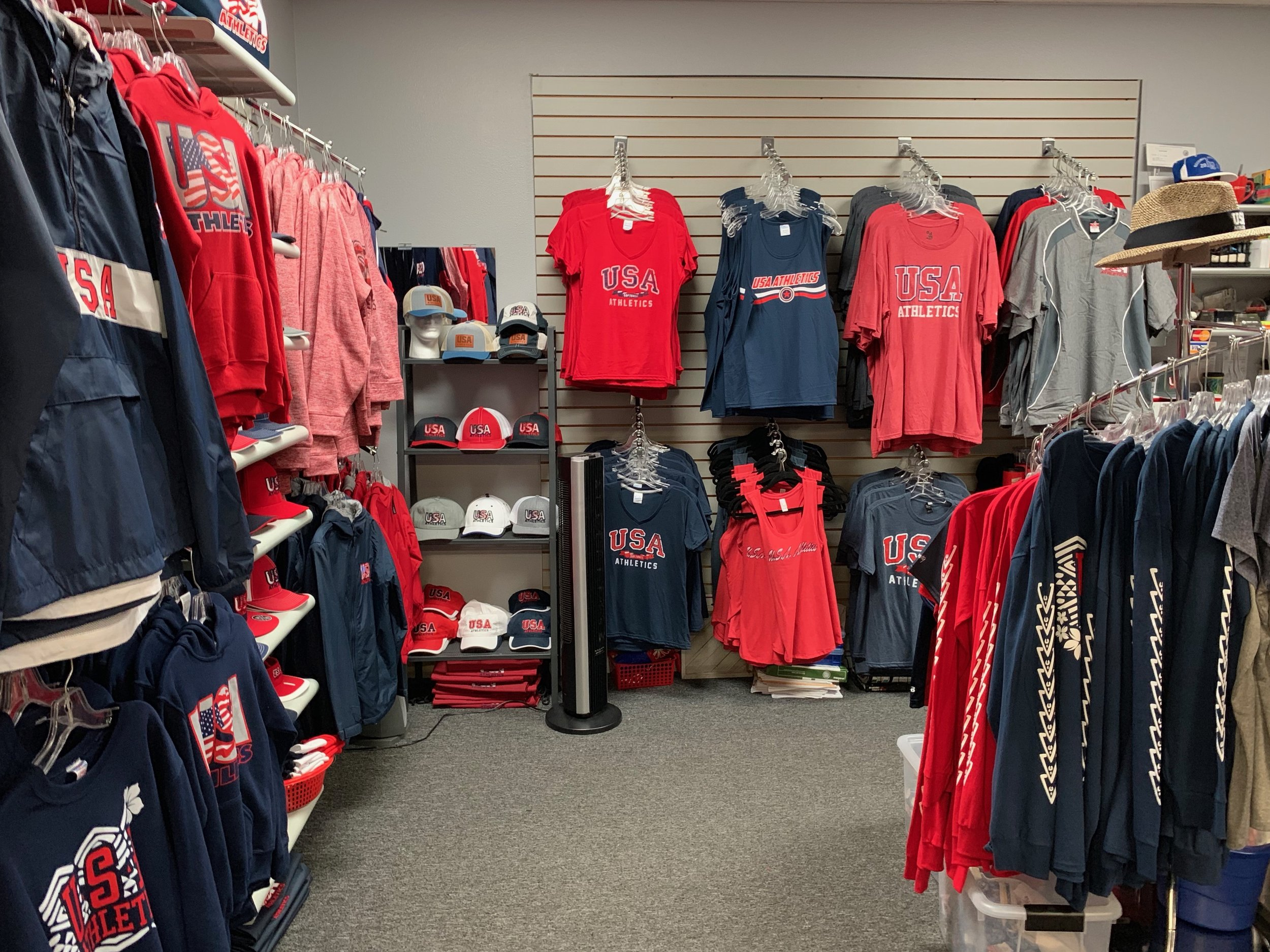J&L Designs' shop in Signal Hill, CA featuring a ton of USA Athletics merch