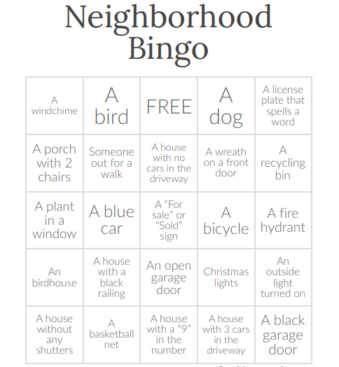 Neighborhood Scavenger Hung Bingo