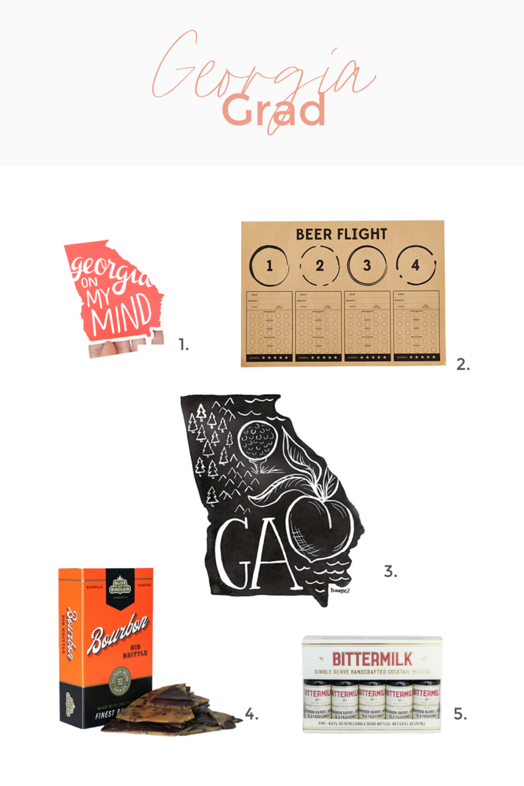 1.  Georgia on My Mind Decal . 2.  Beer Flight Placemats., 24Pk  3.  Georgia Black & White Print.  4.  Bourbon Nib Brittle . 5.  Single Serve Old Fashioned Mixer, Pack/5.