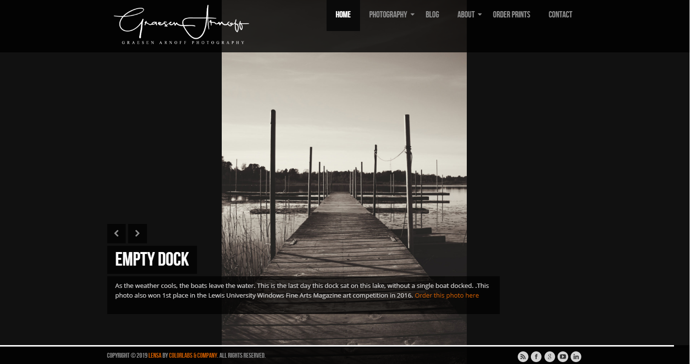 Screenshot of my old website prior to launching this one.