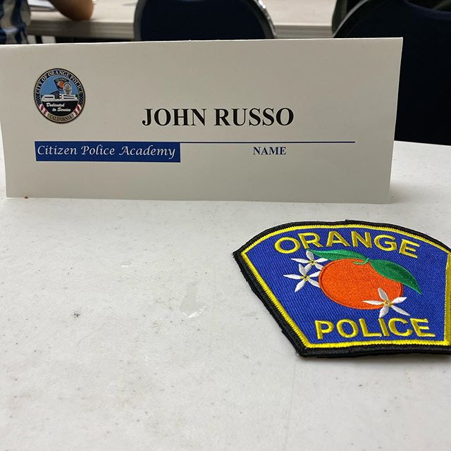 Week 4 of citizens police academy! This has been such a fun and eye opening experience! Awesome demonstrations this evening! @cityoforangepd #citywithapeel #opd #cityoforange #johnrussofororange #russofororange