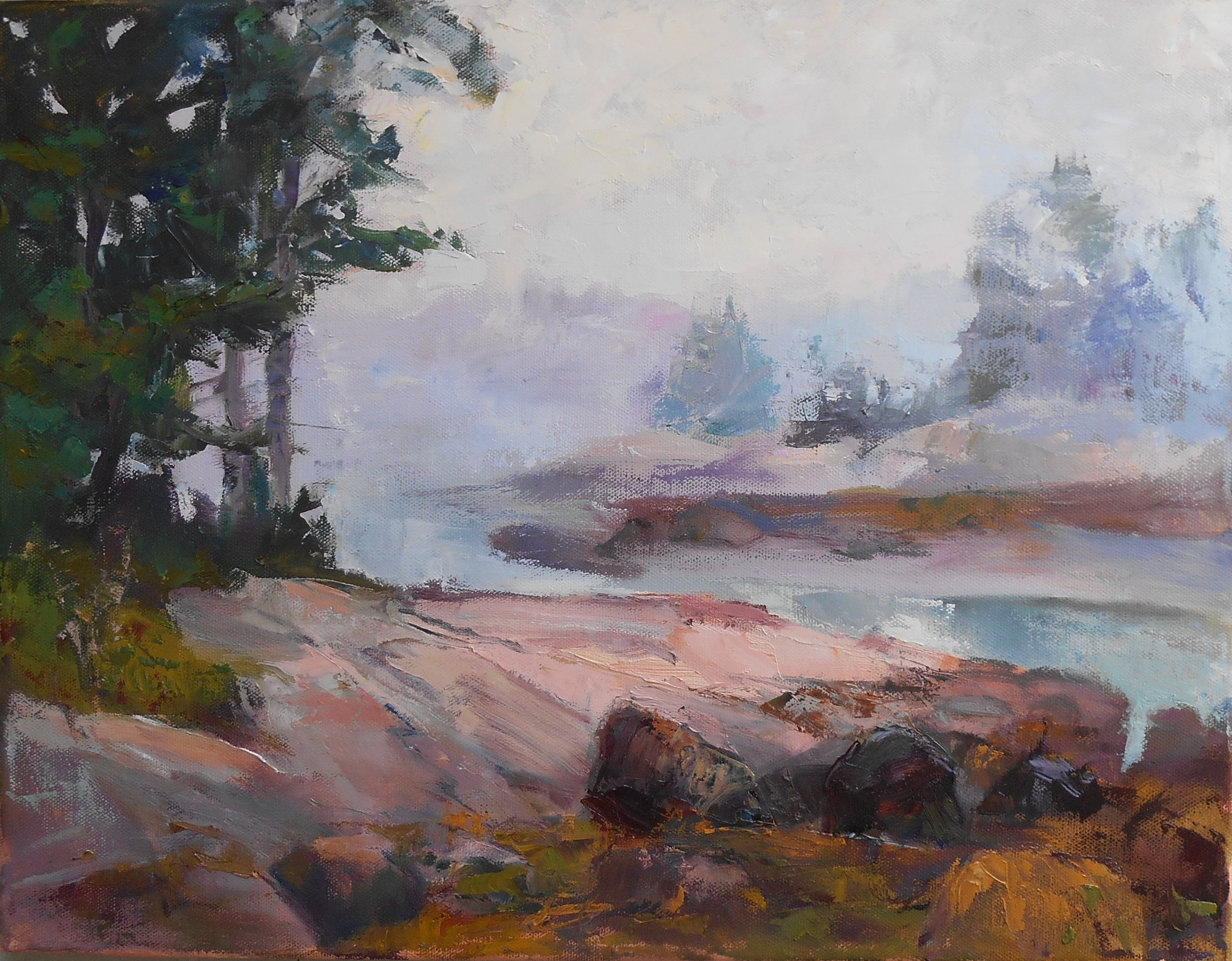 """Fog and Tide , oil on canvas, 14"""" x 18"""""""
