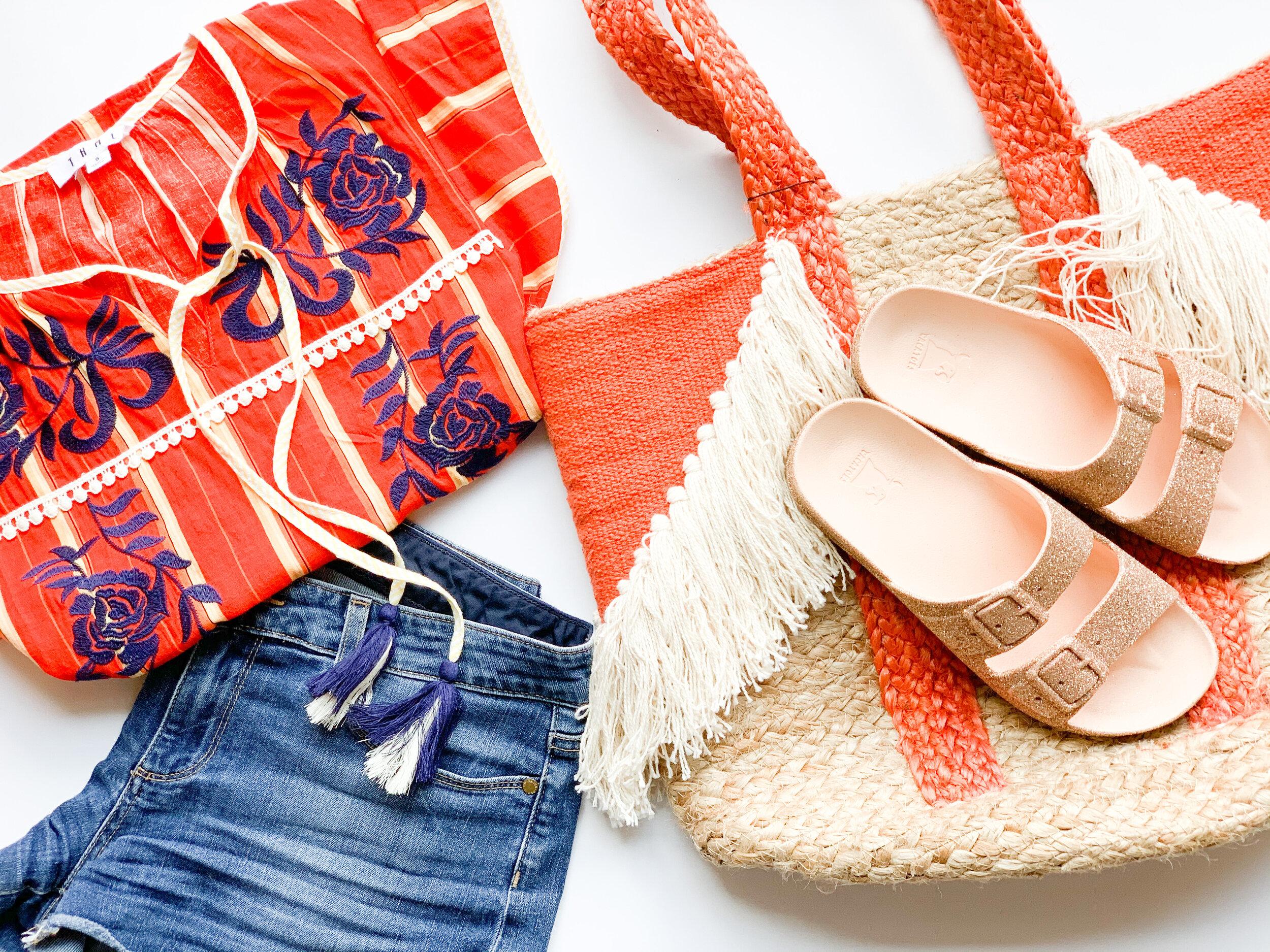 Joanna Orange Stripe Top w/ Tassels ,  Cacatoès Sandals